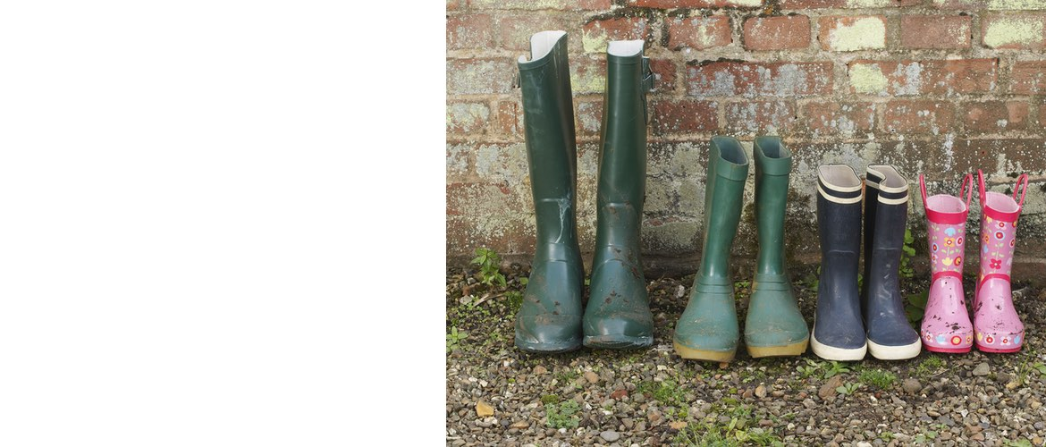 Wellies by a brick wall