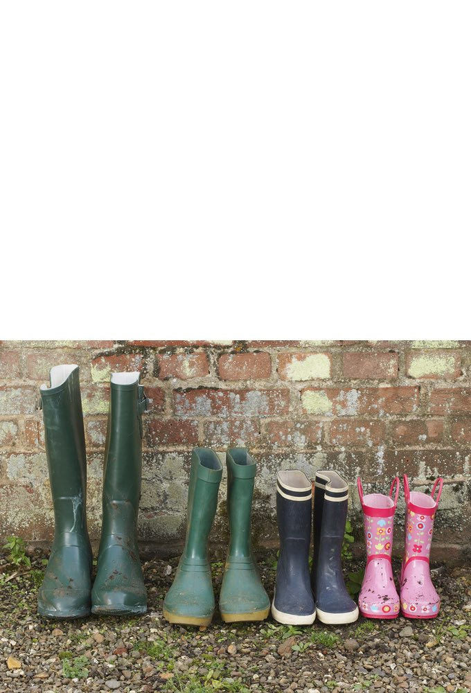 Wellington Boots by a brick wall